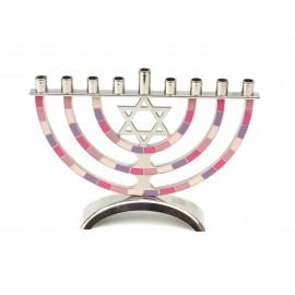 Pink-Purple Classic Design Aluminum Hanukkah Menora.