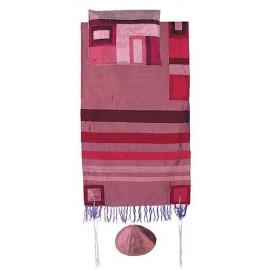 Yair Emanuel Raw Silk Tallit With Maroon Stripes