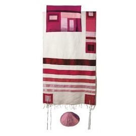 Yair Emanuel Raw Silk Tallit With Maroon On White Stripes