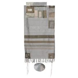 Yair Emanuel Raw Silk Tallit With Grey Stripes