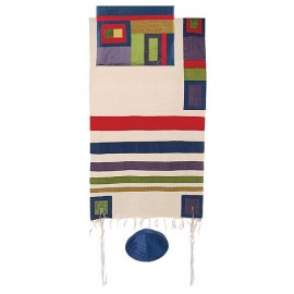 Yair Emanuel Raw Silk Tallit With Multicolor Stripes