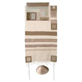 Yair Emanuel Raw Silk Tallit With Gold Stripes
