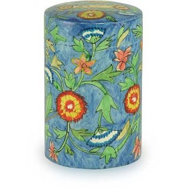 Wooden Blue-Flowers Tzedakah Box