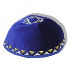 Royal Blue Star of David Kipah