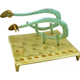 Solid Brass Sheep Menorah by Shraga Landesman