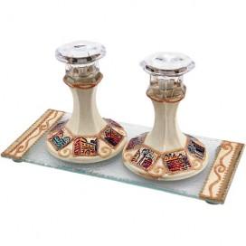 Jerusalem Hand-painted Glass Candlesticks + Matching Tray