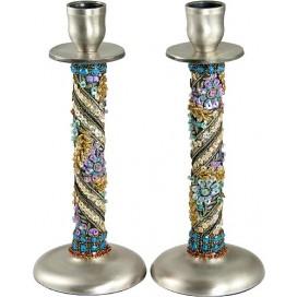 Fancy Floral-motif Pewter Candlesticks by Eva Arbiv Mishan