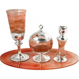 Silver & Reddish Glass Havdalah Set