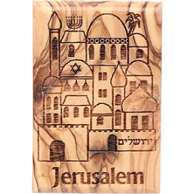 Olive Wood Holy City Magnet