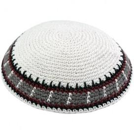 White & Brown Stripes Knitted Kippah