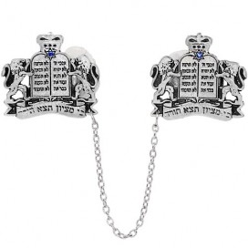 Silver-plated Lions of Judah Torah Tallis Clips