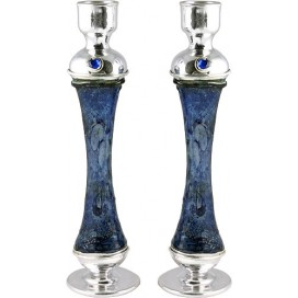 Blue Glass & Silver Candlesticks