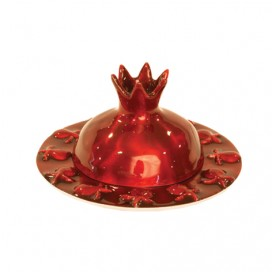 Red Pomegranate Honey Aluminum Plate by Yair Emanuel