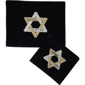 Unique Design Jewish Star Tallis & Tefilin Bag Set