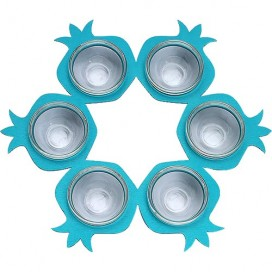 Blue Rimon Seder Plate with Ceramic Cups