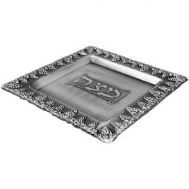 Grape Design Pewter Matzah Plate