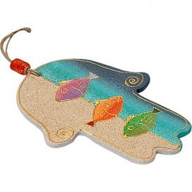Fish Motif Sandstone Hamsa