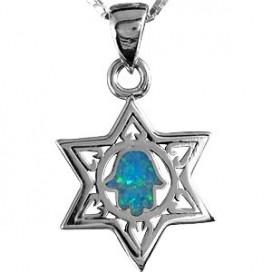Silver Magen David Pendant with Opal Hamsa Center