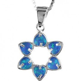 Opal and Silver Magen David Pendant with Heart shaped Points