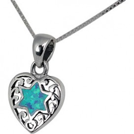 Small Silver Heart Pendant with Opal Jewish Star