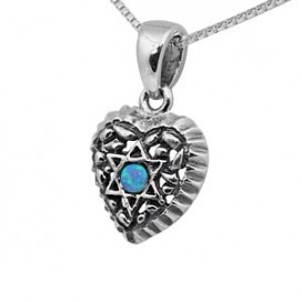 Small Silver Heart Pendant with Opal Magen David