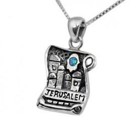 Silver Scroll-design Jerusalem Scene Pendant with Opal Stone