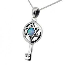 Sterling Silver & Opal Jewish Star Pendant