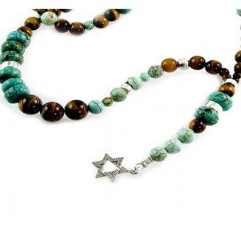 Turquoise, Tiger's Eye & Silver Jewish Star Necklace