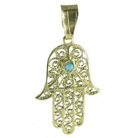 14K Gold Filigree Hamsa Hand Pendant with Turquoise