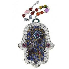 Blue Floral Handmade Hamsa With Beads