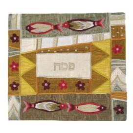 Four Fish Gold Matzah Cover
