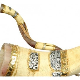 Artistic Jerusalem Yemenite Shofar - size: 42- 45 inches