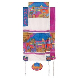 Yair Imanuel Jerusalem Gate In Color Silk Tallit