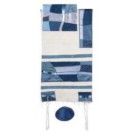 Yair Emanuel Abstract Blue Raw Silk Tallit