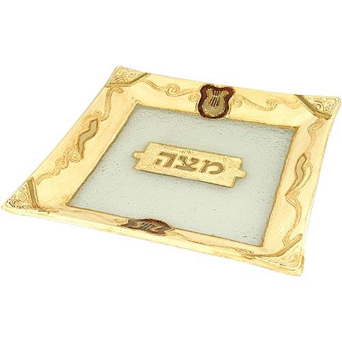 David's Harp Glass Passover Seder Plate - Judaica Mall