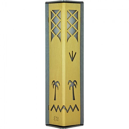 Gold-and-Charcoal Date Palm Mezuzah by Shraga Landesman