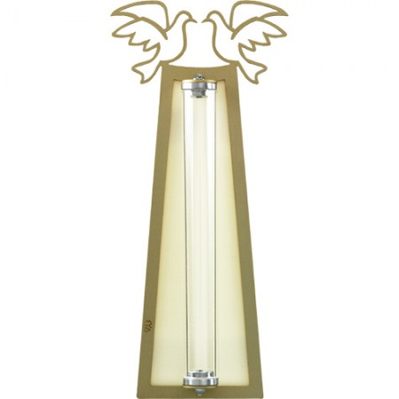 Golden and White Wedding Mezuzah by Shraga Landesman