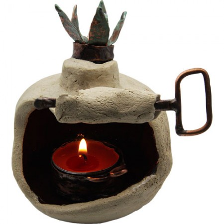 Pomegranate-motif Clay and Copper Tealight Holder by Rami Zamir