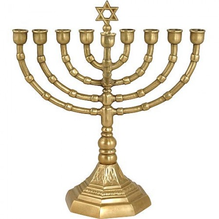 Solid Brass Grandmother Hanukkah Menorah