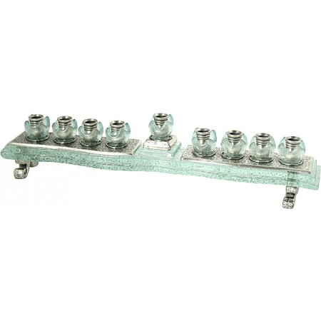 Clear Glass & Pewter Menorah