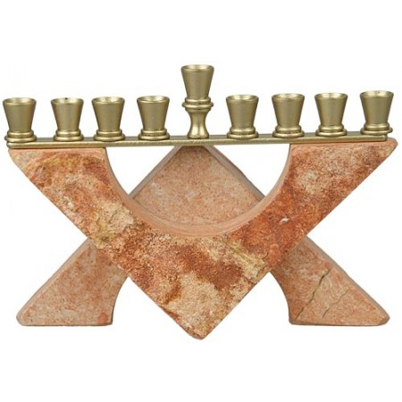 Dark Jerusalem Stone Menorah