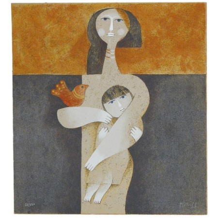 Mother with Child  12.25x13 / 31x33 cm  Serigraph
