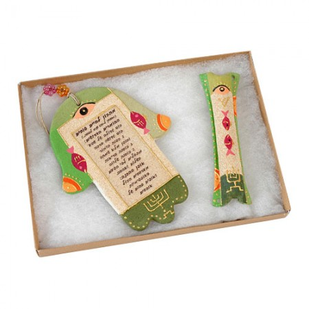 Recipe for a Good Life Hamsa with Matching Mezuzah