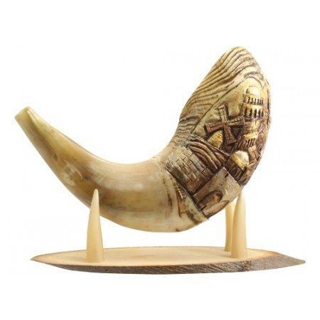 Hand-Engraved Ram's Horn Shofar - Jerusalem View - size: 18-20 inches