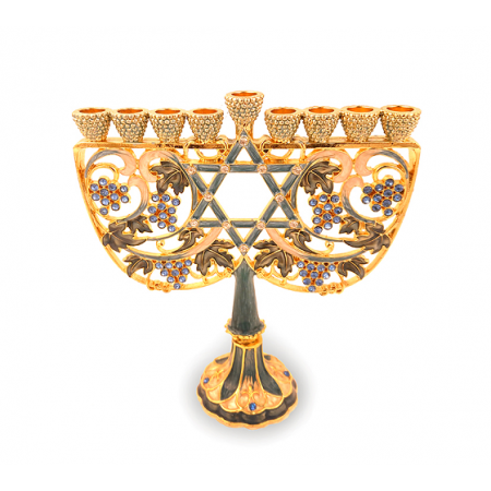 Hanukkah Menorah Made of Pewter and Enamel With an Exquisite Grapevines Design