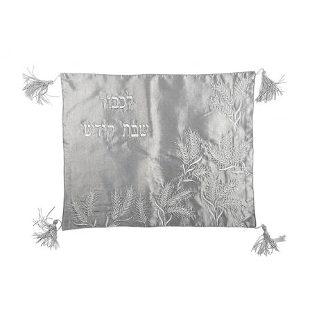 Silver Challah Cover with Wheat stalk Design