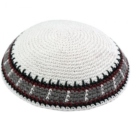 White & Brown Stripes Knitted Kippah