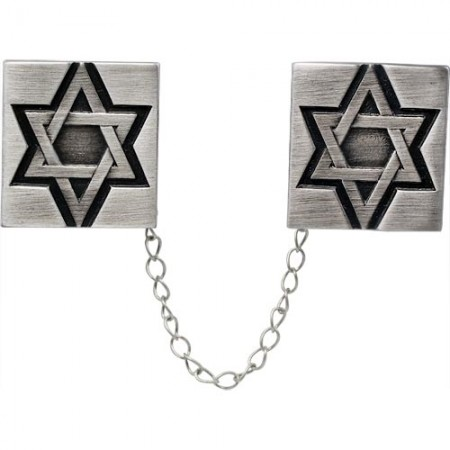 Beautiful Pewter Jewish Star Tallit Clips