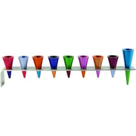 Multi-Colored Cones Menorah by Yair Emanuel