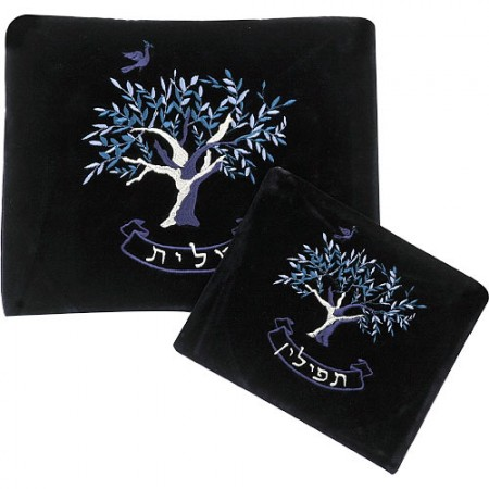 Velvet Tallit and Tefillin Bag Set with Tree Decoration